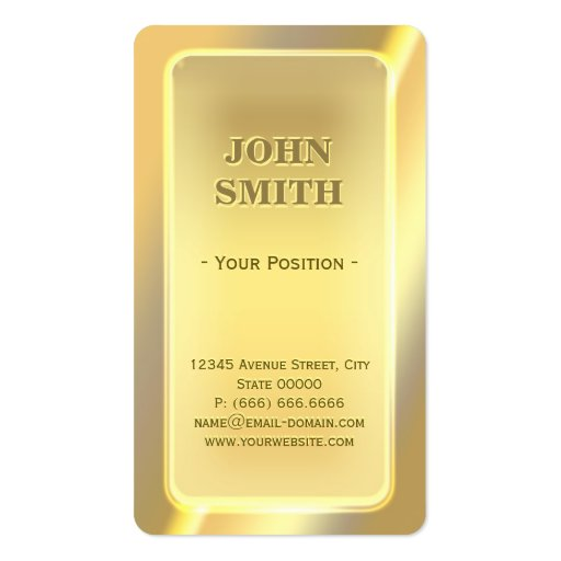 Impressive Shiny Gold Bar Look with Custom Text Business Card