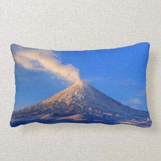 Impressive winter volcanic eruption at sunrise lumbar pillow