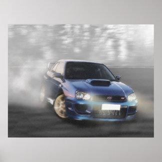 Impreza Coupe going sideways Poster