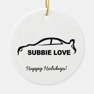 """Impreza STI black """"subbie love"""" silhouette Ceramic Ornament"""