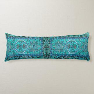Imprima de la manta tradicional de Kilim en azules Cojin Cama
