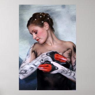 Imprimes cisne swan leda bodypainting poster print
