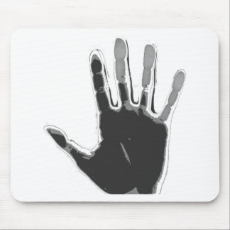 Imprinted black and grey hand! mouse pad