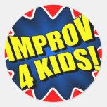 Improv 4 niños pegatinas redondas