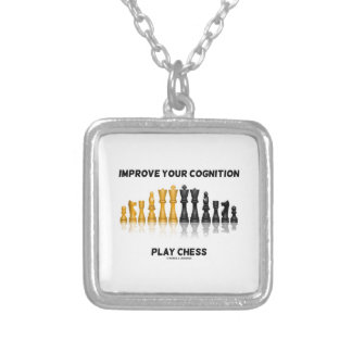 Improve Your Cognition Play Chess (Chess Set) Silver Plated Necklace