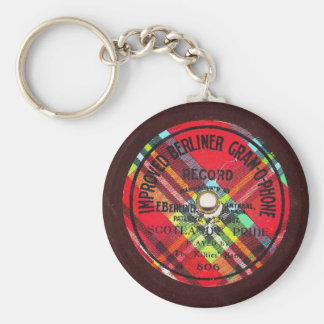 """""""Improved Berliner Gramophone"""" Record Keychain"""