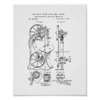 Improvement In Band Sawing-machines Patent Poster