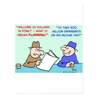impuesto sobre la renta del cerdo de obama tarjetas postales