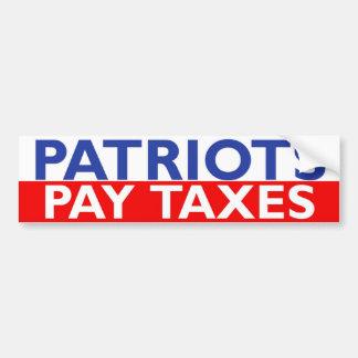Impuestos de la paga de los patriotas pegatina para auto