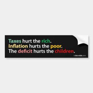 Impuestos, inflación, déficit etiqueta de parachoque