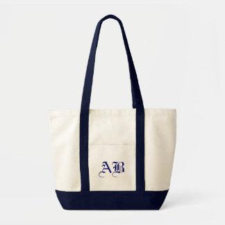 Impulse natural/navy Tote Monogram Template Impulse Tote Bag