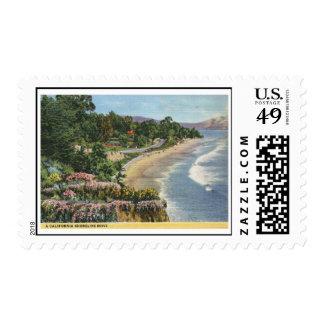 Impulsión de la línea de la playa, vintage de sellos postales