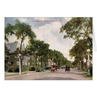 Impulsión de la orilla del lago, vintage 1914 de tarjeta de felicitación