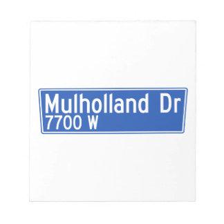 Impulsión de Mulholland, Los Ángeles, placa de Blocs De Papel