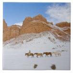 Impulsión del caballo a través de la nieve 2 azulejo cerámica