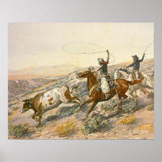 Impulsión del ganado de la CAMISETA Poster