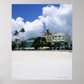 Impulsión del océano, playa del sur de Miam, Miami Póster