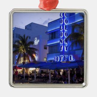 Impulsión del océano, playa del sur, Miami Beach, Adorno Cuadrado Plateado