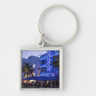 Impulsión del océano, playa del sur, Miami Beach,  Llavero Cuadrado Plateado