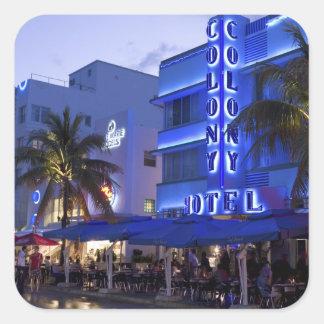 Impulsión del océano, playa del sur, Miami Beach, Pegatina Cuadrada