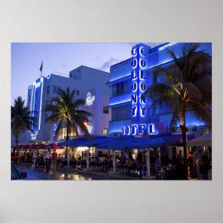 Impulsión del océano, playa del sur, Miami Beach,  Póster