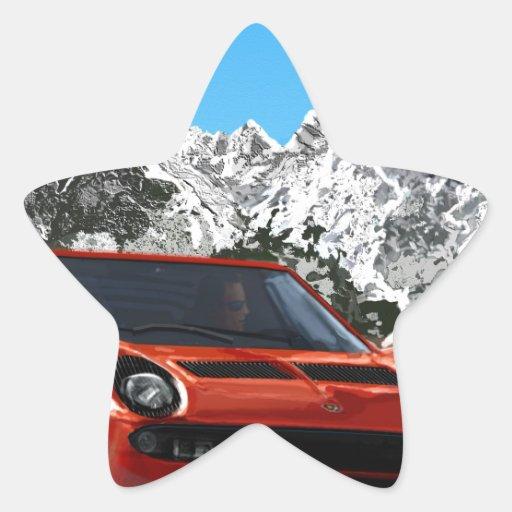 Impulsión italiana de la montaña del coche de pegatina en forma de estrella