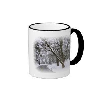 Impulsión pacífica de la tarde del invierno taza de dos colores