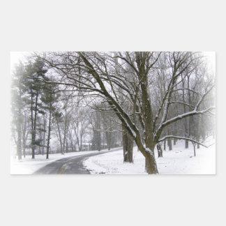 Impulsión serena de la tarde del invierno pegatina rectangular