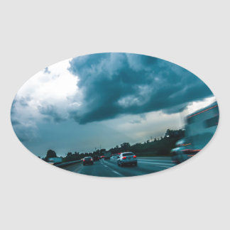impulsión temporal de la velocidad de la niebla pegatinas óvales