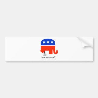 Impulso anti del elefante de la fiesta del té en t etiqueta de parachoque