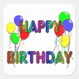 Impulsos D1 del feliz cumpleaños Calcomanias Cuadradas