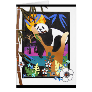 IN A BAMBOO COMA papercut illustration Card