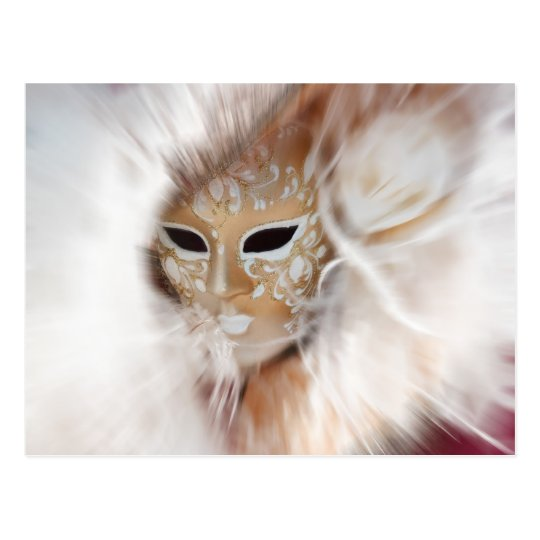 In A Blur Woman Of Mystery Venetian Mask Postcard