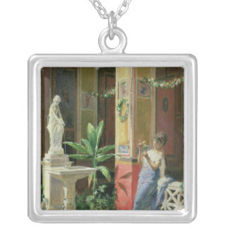 In a Courtyard in Pompeii, 1878 Silver Plated Necklace