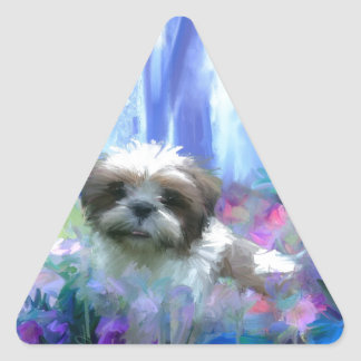 in a flowerbed.jpg triangle sticker