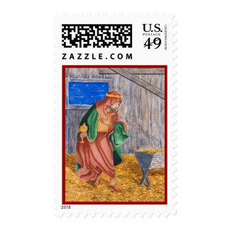 In A Manger with Border Postage Stamp