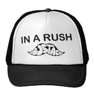 in a rush , moustache fun funny humour trucker hat