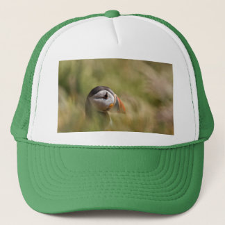 In a Sea of Green Puffin Trucker Hat