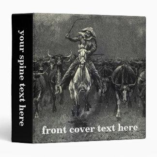 In A Stampede by Frederic Remington Vintage Cowboy 3 Ring Binder