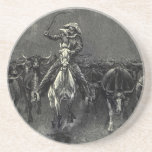 In A Stampede by Frederic Remington Vintage Cowboy Drink Coaster
