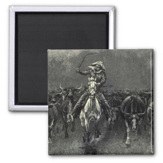 In A Stampede by Frederic Remington Vintage Cowboy Refrigerator Magnets