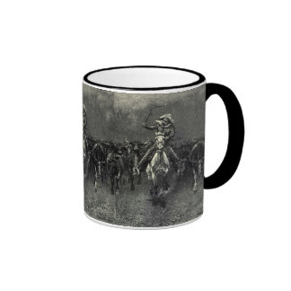 In A Stampede by Frederic Remington Vintage Cowboy Coffee Mugs
