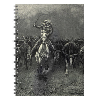 In A Stampede by Frederic Remington Vintage Cowboy Note Book