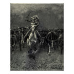 In A Stampede by Frederic Remington Vintage Cowboy Poster