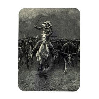In A Stampede by Frederic Remington Vintage Cowboy Vinyl Magnets