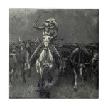In A Stampede by Frederic Remington Vintage Cowboy Tile