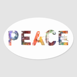In A Word: Peace Oval Sticker