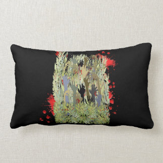 In A Zombie Garden Lumbar Pillow