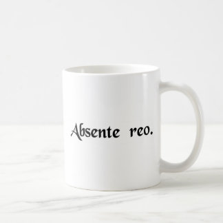 In absence of the defendant classic white coffee mug