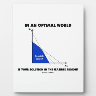 In An Optimal World Is Your Solution Feasible? Photo Plaque